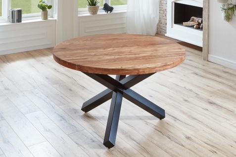 Esstisch rund Akazienholz natur massiv 130 cm schwarz RUNA