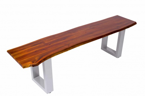 Massivholz Sitzbank 180 x 40 cm Akazie/cognac silber IDA