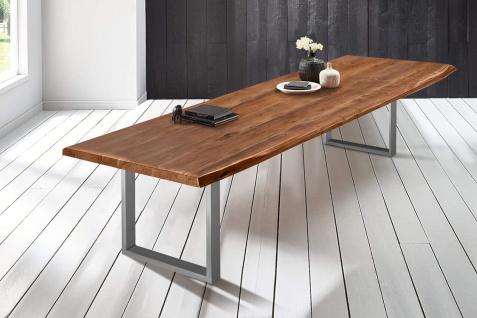 Baumkantentisch Esstisch Akazie Nussbaum 300 x 110 cm silber Valin