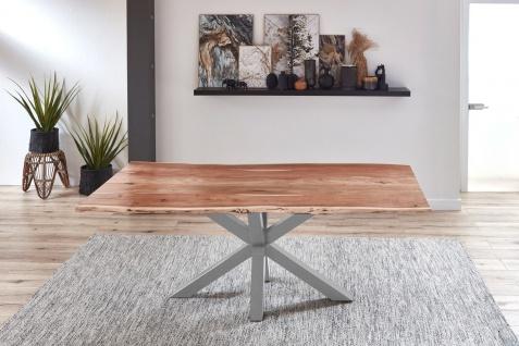 Esstisch Baumkante Akazie Natur 200 x 100 cm silber QUINCY