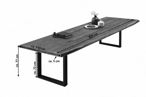 Baumkantentisch Esstisch Akazie Nussbaum 300 x 110 cm schwarz Valin - Vorschau 2