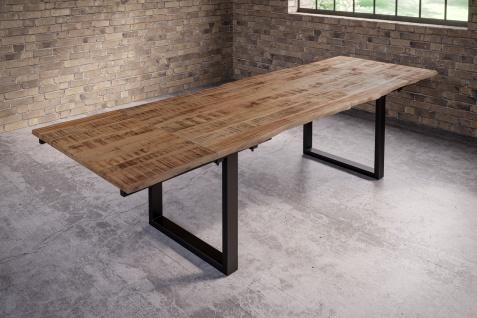 Baumkantentisch Esstisch Mangoholz massiv U-Gestell schwarz 200 (300) x 100 cm NOAR