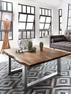Couchtisch Baumkante 120 x 80 cm Akazie nussbaumfarben silber