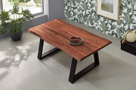 Couchtisch Baumkante 120x70 cm Akazie nussbaumfarben schwarz MATTEO