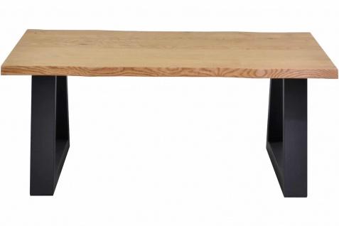 Couchtisch Baumkante 110 x 60 cm Wildeiche Sofatisch Trapez-Metallgestell Ablage Ossmann