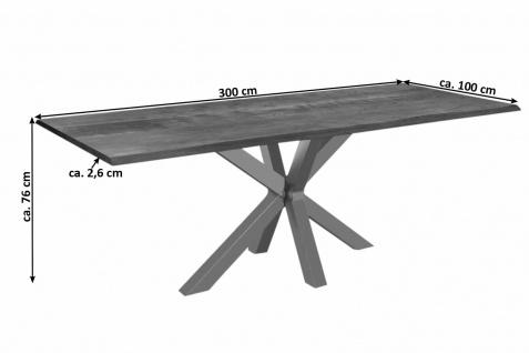Esstisch Baumkante massiv Akazie nussbaum 300 x 100 silber SPYRO - Vorschau 3