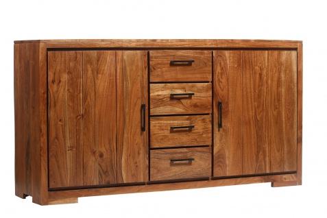 Sideboard 176 x 45 x 85 cm Akazienholz massiv & nussbaum SARAH