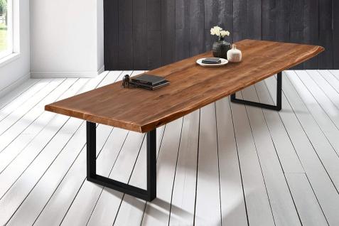 Baumkantentisch Esstisch Akazie Nussbaum 300 x 110 cm schwarz Valin