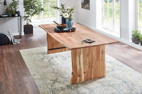 Baumkantentisch Esstisch Akazie Natur 220 x 100 cm Holzgestell Henry