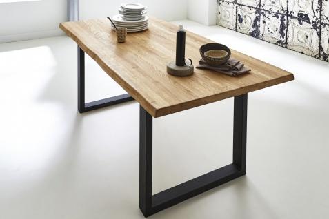 Baumkantentisch Esstisch Wildeiche 200 x 100 cm schwarz RICHARD
