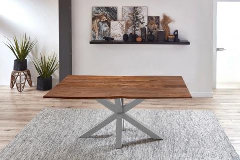 Esstisch Baumkante Akazie Nussbaum 140 x 80 cm silber QUINCY