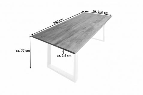 Baumkantentisch Esstisch Wildeiche 200 x 100 cm weiß SERRA - Vorschau 2