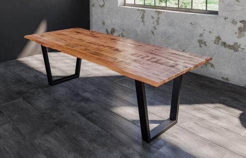 Baumkantentisch Esstisch Mangoholz massiv V-Gestell schwarz 200 x 100 cm DORA