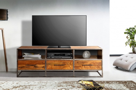 TV-Board Akazienholz massiv nougat Lowboard 3 Schubladen Oklahoma