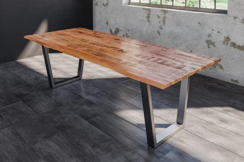 Baumkantentisch Esstisch Mangoholz massiv V-Gestell silber 200 x 100 cm DORA