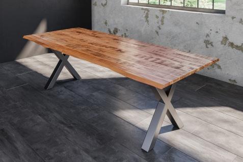 Baumkantentisch Esstisch Mangoholz massiv X-Gestell silber 200 x 100 cm DORA