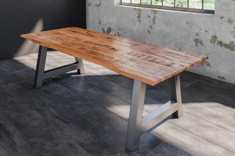 Baumkantentisch Esstisch Mangoholz massiv A-Gestell silber 200 x 100 cm DORA
