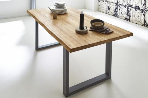 Baumkantentisch Esstisch Wildeiche 180 x 90 cm silber RICHARD