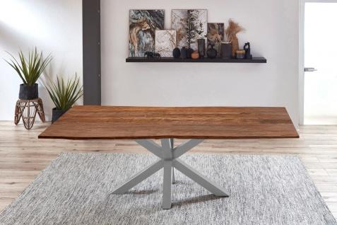 Esstisch Baumkante Akazie Nussbaum 260 x 100 cm silber QUINCY