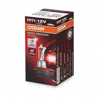 NIGHT BREAKER® SILVER H11 Faltschachtel H11 ECE 12 Volt 55 Watt PGJ19-2 Sockel Abblendlicht/Fernlicht/Nebellicht