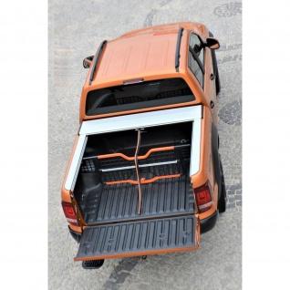 Laderaumabdeckung mit Trenngitter und Zentralverriegelung SET für VW Amarok Double Cab in Silber ab Baujahr 2010