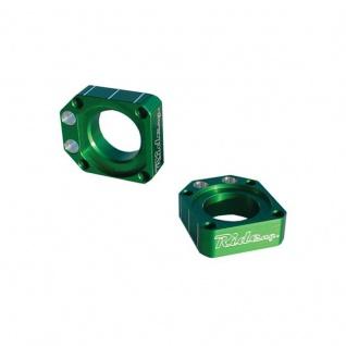 Achsblöcke / Axel Blocks grün Kawasaki KX125/250 03-07 KX250F 04-16 KX450F 06-15 KLX450R Suzuki RMZ250/450 05-17