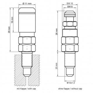 Stahlbus 4er Set Entlüftungsventil M10 x 1, 0 x 20 MM incl. Kappe vernickelt