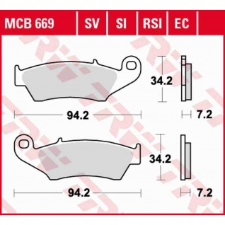 MCB669SI Bremsbelag Aprilia Beta Bimoto CPI Fantic Gas Gas HM Honda Kawasaki Yamaha Suzuki