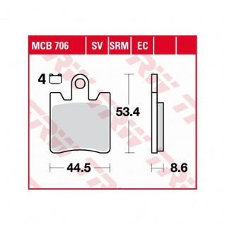 MCB706EC Bremsbelag Daelim Otello Freewing B-Bone Sym GTS Joymax Kawasaki Epsilon Suzuki Burgman - Vorschau