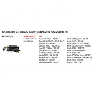 External Ignition Coil 1.7 Ohms Yamaha FZ700 750 FZR 1000 Suzuki GSX 1100 GSF 600 1200 RF 900 Kawasaki KR1 80-11