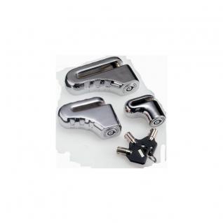 DISCK LOCKS Bremsscheibenschloss in Schuhform aus verchromtem Zementstahl mit 3 Zylinderschlüsseln und Transportbeutel 7 x75 mm