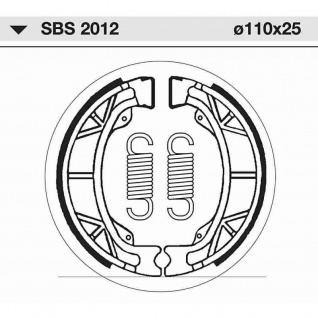 Bremsbacke SBS 2012 Maße: 110 x 25 Aprilia Benelli Beta E-Ton Honda KTM Kymco Malaguti Peugeot KTM Sachs PGO SYM - Vorschau