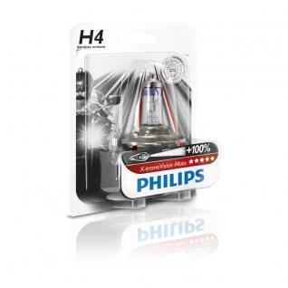 Philips 12342XVBW X-treme Vision Moto H4 Motorrad-Scheinwerferlampe, 1-er Blister
