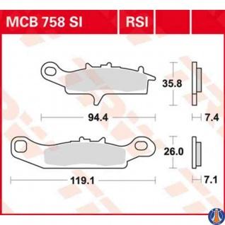 MCB758SI Bremsbelag Kawasaki KFX 450 700 KVF Brute Force Prairie Suzuki King Quad 700 Twin Peaks