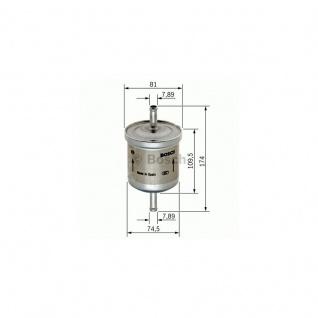 Bosch Benzinfilter Kraftstofffilter Benzineinspritzung, Ø 81 mm, D1 75 mm, D2 8 mm, D3 8 mm, Höhe 174 mm, Höhe 1 110 mm, Einlass-Ø 8 mm, Auslass-Ø 8 mm