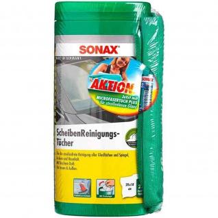 SONAX feuchte Tücher Scheibenreinigung Glasrenigung Tuch-Box & Microfaser Tuch