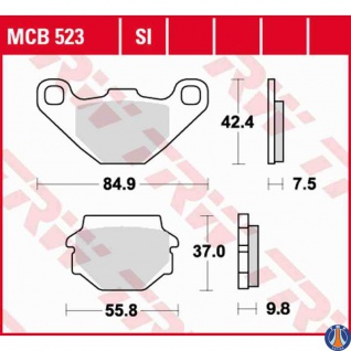 MCB523 Bremsbelag Aeon Aprilia Buell Cagiva Kawasaki Kram-It KTM Peugeot Sym Suzuki TGB