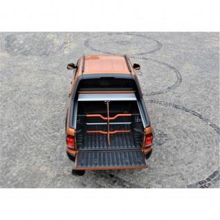 Laderaumabdeckung Roll Cap mit Trenngitter und Zentralverriegelung SET für VW Amarok Canyon Double Cab in Silber ab Baujahr 2010 - Vorschau 1