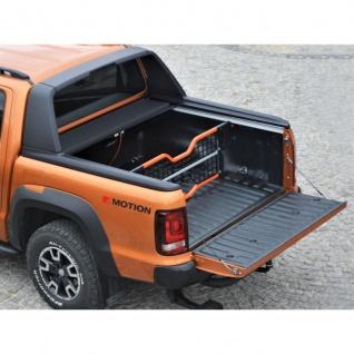 Laderaumabdeckung Roll Cap mit Trenngitter und Zentralverriegelung als SET für VW Amarok Canyon Double Cab in schwarz ab Baujahr 2010