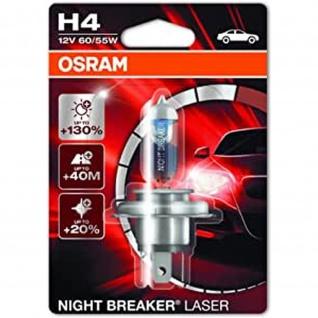 NIGHT BREAKER® LASER H4 Einzelblister H4 ECE 12 Volt 60/55 Watt P43t Sockel Abblendlicht/Fernlicht
