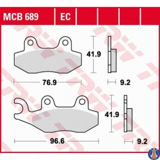 MCB689EC Bremsbelag AEON Benilli Daelim Garelli Generic Jincheng Kreidler Kymco Peugeot Royal Enfield Sachs Sinnis TGB
