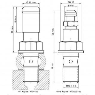 Stahlbus Hohlschraube mit Entlüftungsventil M10x1.0x19mm, Alu eloxiert schwarz