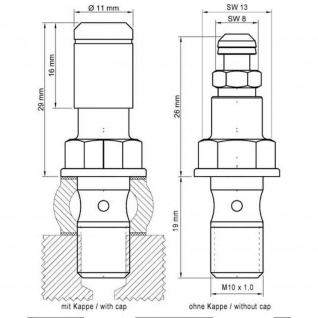 Stahlbus Hohlschraube mit Entlüftungsventil M10x1.0x19mm, Alu eloxiert gold