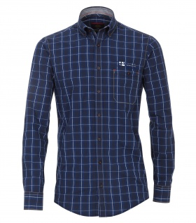 Casa Moda - Casual Fit - Dobby Herren Hemd kariert mit Button Down-Kragen in Blau (472800800A)