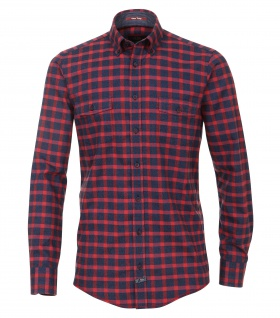 Casa Moda - Casual Fit - Herren Twill Hemd kariert mit Button Down-Kragen in Rot (472803600A)