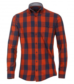 Casa Moda - Casual Fit - Twill Herren Hemd kariert mit Button Down-Kragen in Orange (472801400A)