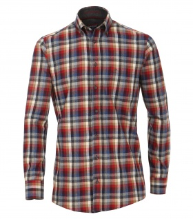 Casa Moda - Casual Fit - Flanell Herren Hemd, kariert mit Button Down-Kragen in Rot (472803400A)