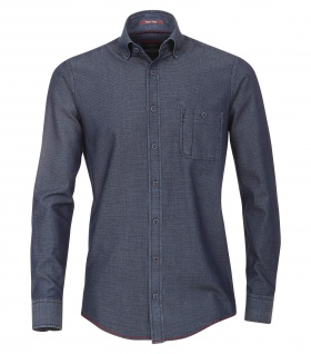 Casa Moda - Casual Fit - Herren Struktur Hemd uninah mit Button Down-Kragen in Blau (472803700)