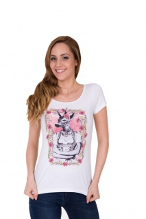 Krüger - Damen Trachten T-Shirt in weiß, Deer Lady (34290-1)