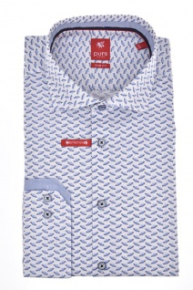 Pure - Slim Fit - Herren Langarm Hemd City Red mit Hai Kragen (3583-706)